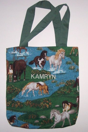 PERSONALIZED tote book bag  HORSES