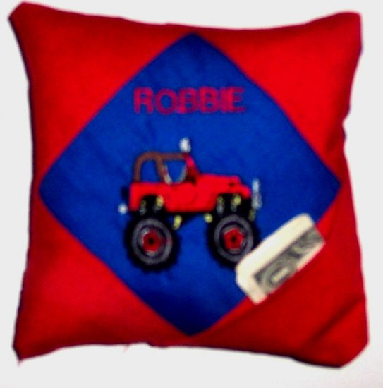 PERSONALIZED tooth fairy pillow MONSTER TRUCK