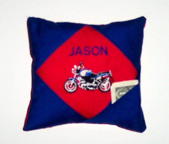 PERSONALIZED tooth fairy pillow MOTORCYCLE