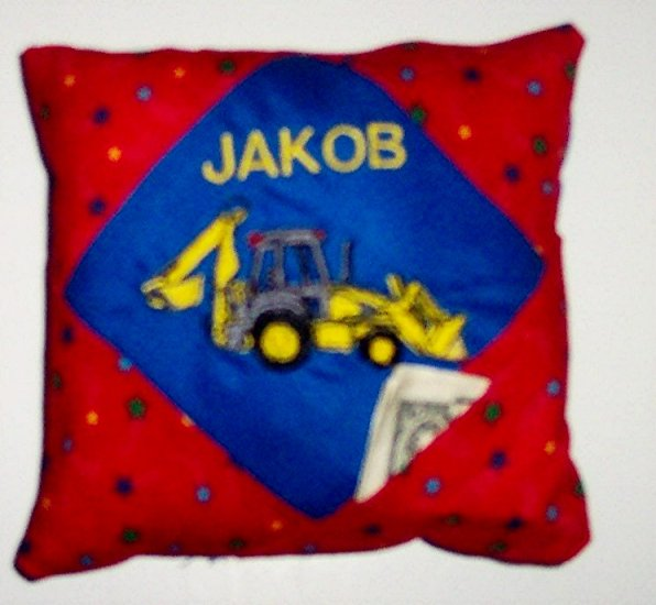 PERSONALIZED tooth fairy pillow CONSTRUCTION TRUCK