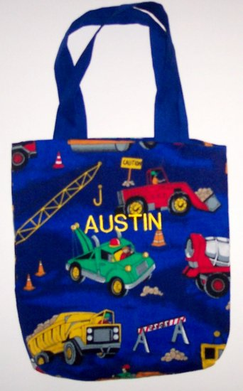 PERSONALIZED tote school book bag CONSTRUCTION TRUCKS