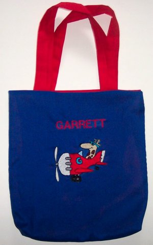 PERSONALIZED tote book school bag AIRPLANE