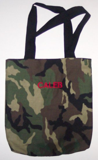 PERSONALIZED tote book bag  CAMOUFLAGE