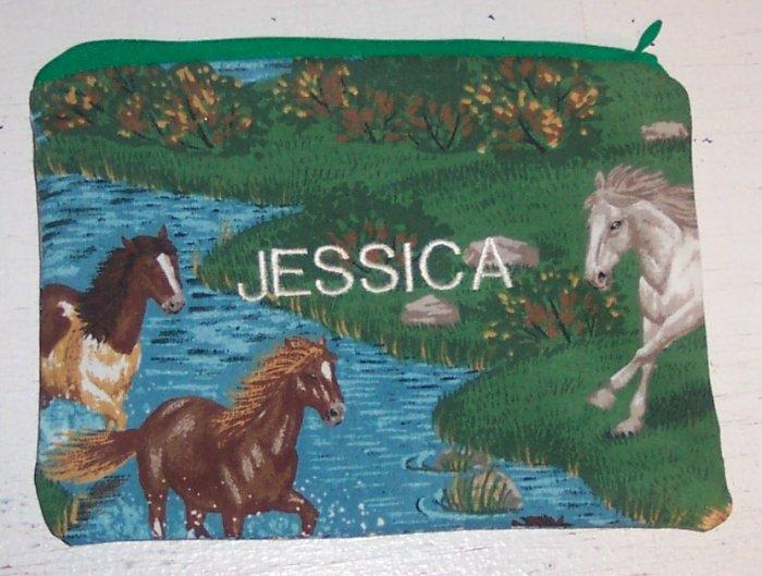 PERSONALIZED SCHOOL SUPPLIES PENCIL CASE CRAYON BAG HORSE DESIGN