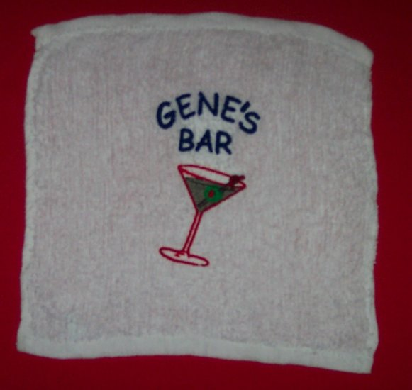 PERSONALIZED EMBROIDERED BAR RAG TOWEL - Great Gift!