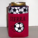 PERSONALIZED EMBROIDERED Koozie Can Soda cover wrap - SOCCER DESIGN!