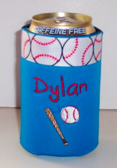 PERSONALIZED EMBROIDERED Koozie Can Soda Cover - BASEBALL!!