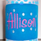 Personalized Embroidered Koozie Can Beverage holder - Neon Blue