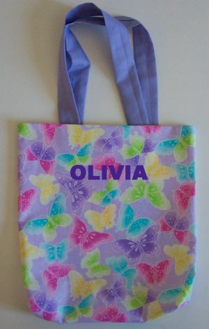 PERSONALIZED TOTE BAG - SPARKLY BUTTERFLIES!!