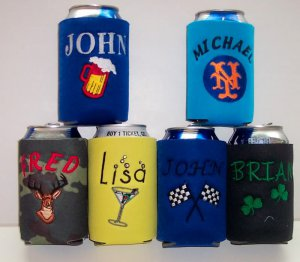 PERSONALIZED EMBROIDERED Koozie Can Cover WITH PICTURES