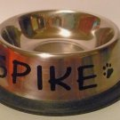 PERSONALIZED very small STAINLESS STEEL non-skid DOG CAT BOWL!!