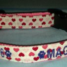 PERSONALIZED  heart sparkly DOG COLLAR for VALENTINE'S DAY - with  NAME/PHONE!