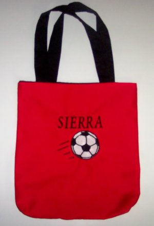 PERSONALIZED  Tote Book Bag for kids who love SOCCER!!