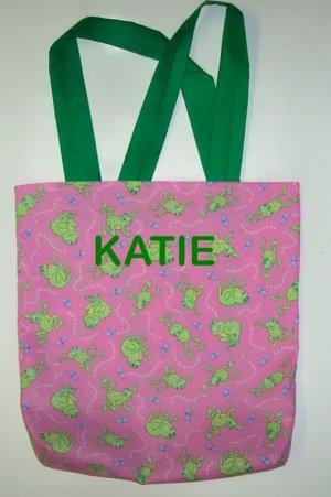 PERSONALIZED Tote Bag PINK & GREEN FROGS - Adorable!!