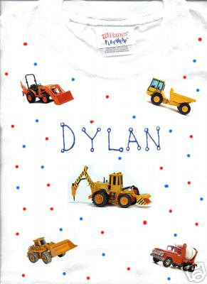 PERSONALIZED TODDLER/YOUTH T-SHIRT  CONSTRUCTION TRUCKS