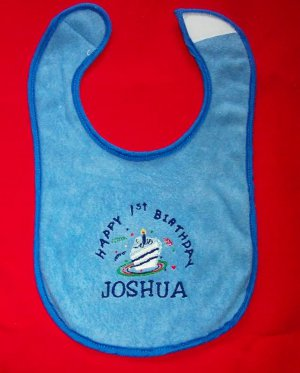 PERSONALIZED EMBROIDERED First Birthday BIB - any age!