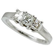 18K White Gold Diamond Three Stone Ring - You Save $7,307.58
