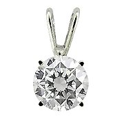 14K White Gold Diamond Solitaire Pendant - You Save $1,064.82