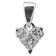 18K White Gold Diamond Heart Shape Pendant - You Save $1,539.41