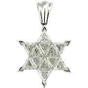 18K White Gold Diamond Star of David Pendant - You Save $4,553.02