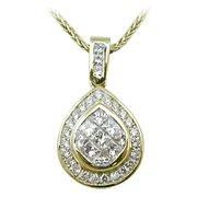 18K Yellow Gold Diamond Drop Pendant - You Save $4,014.18