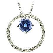 14K White Gold Sapphire/Diamond Drop Pendant - You Save $2,137.37