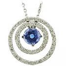 14K White Gold Sapphire/Diamond Drop Pendant - You Save $2,512.61