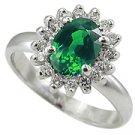 14K White Gold Emerald/Diamond Multi Stone Ring - You Save $1,049.42