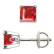 14K White Gold Ruby Stud Earrings - You Save $721.60