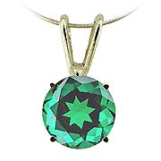 14K Yellow Gold Emerald Solitaire Pendant - You Save $735.47