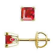 14K Yellow Gold Ruby Stud Earrings - You Save $534.16