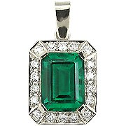 18K White Gold Emerald/Diamond Drop Pendant - You Save $4,329.23