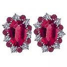 18K White Gold Ruby/Diamond Earrings - You Save $4,726.99