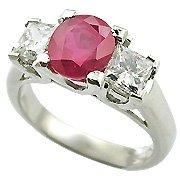 18K White Gold Ruby/Diamond Three Stone Ring - You Save $5,641.13