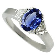 18K White Gold Sapphire/Diamond Three Stone Ring - You Save $4,347.67