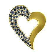 18K Yellow Gold Sapphire Heart Pendant - You Save $2,147.99