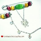 Multicoloured Cat's Eye Brooch with Crystal Butterfly