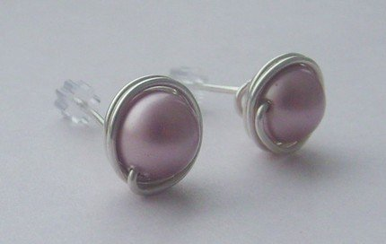 Wire Wrapped 8mm Powder Pink Swarovski Pearl Sterling Silver Stud Earrings