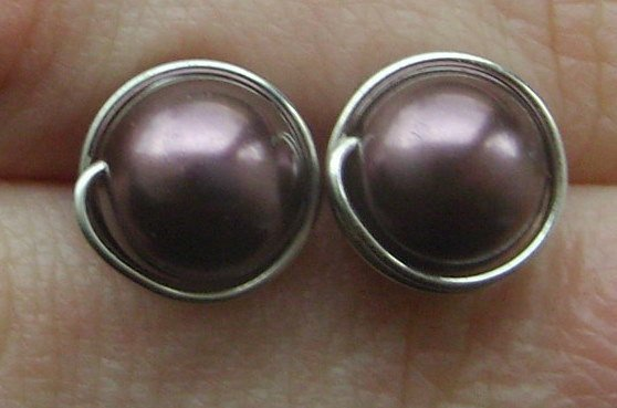 Wire Wrapped 8mm Burgundy Swarovski Pearl Sterling Silver Stud Earrings