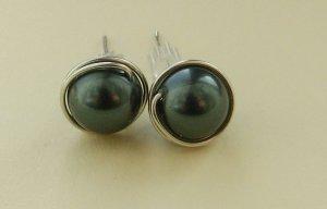 Wire Wrapped 8mm Tahitian Swarovski Pearl Sterling Silver Stud Earrings