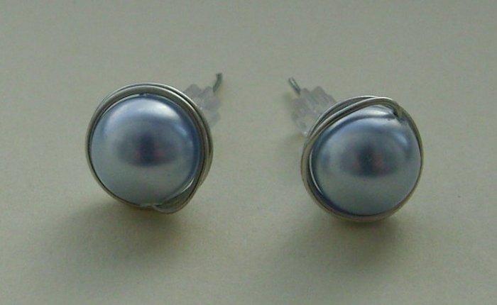 Wire Wrapped 8mm Light Blue Swarovski Pearl Sterling Silver Stud Earrings
