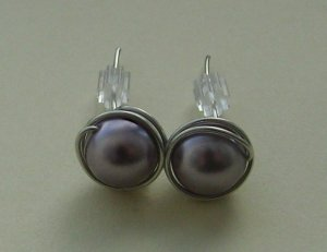 Wire Wrapped 8mm Mauve Swarovski Pearl Sterling Silver Stud Earrings