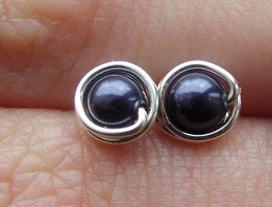 Wire Wrapped 4mm Night Blue Swarovski Pearl Sterling Silver Stud Earrings