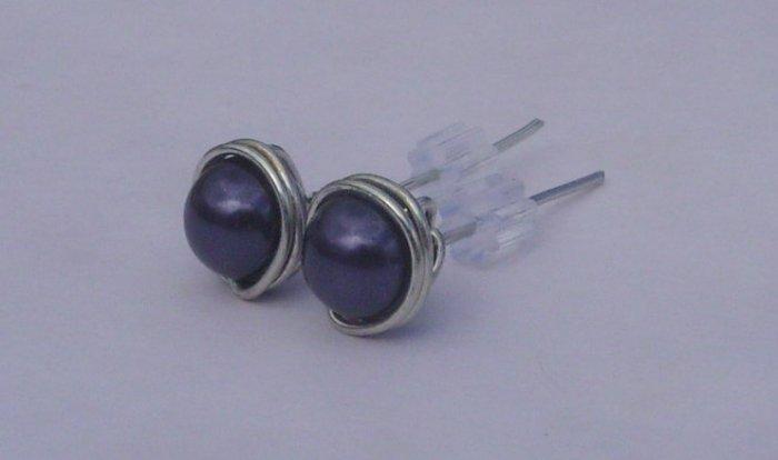 Wire Wrapped 6mm Dark Purple Swarovski Pearl Sterling Silver Stud Earrings