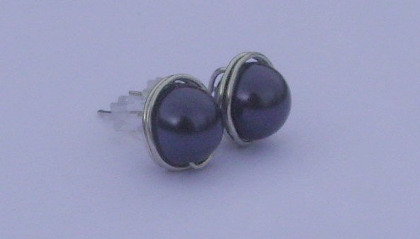 Wire Wrapped 8mm Dark Purple Swarovski Pearl Sterling Silver Stud Earrings