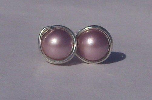 6mm Powder Pink Swarovski Pearl Sterling Silver Stud Earrings