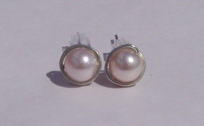6mm Rosaline Swarovski Pearl Sterling Silver Stud Earrings