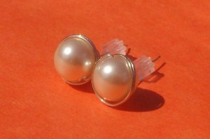 Wire Wrapped 8mm Ivory Swarovski Pearl Sterling Silver Stud Earrings
