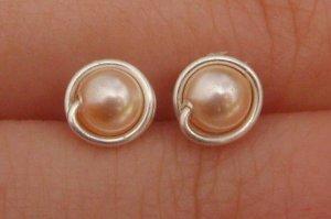 Wire Wrapped 4mm Peach Swarovski Pearl Sterling Silver Stud Earrings