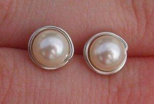 Wire Wrapped 6mm Ivory Swarovski Pearl Stud Earrings